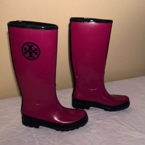 Tory Burch pink and blue Rainboots